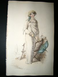 Ackermann 1812 Hand Col Regency Fashion Print. Promenade Dress 8-12